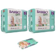 Set 2 pachete scutece Ecologice Bambo Nature Nr. 2 (3-6 kg), 60 buc. + CADOU șervetele umede BAMBO Nature, 50 buc.