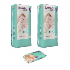 Set 2 pachete scutece Ecologice Bambo Nature Nr. 3 (4-8 kg), 104 buc.+ CADOU șervețele umede BAMBO Nature, 50 buc.