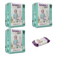 Set 3 pachete Chiloței Ecologici Bambo Nature Pants, Nr. 4, 7-14 kg, 60 buc. + CADOU șervețele umede BAMBO Nature, 80 buc.