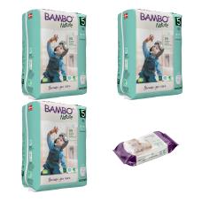 Set 3 pachete Chiloței pentru copii BAMBO Nature Pants Junior, Nr. 5 (12 - 18 kg), 57 buc. + CADOU șervețele umede BAMBO Nature, 80 buc.