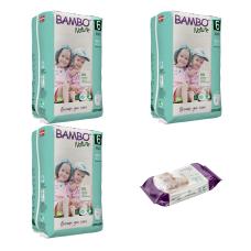 Set 3 pachete Chiloței pentru copii BAMBO Nature Pants XL, Nr. 6 (18+ kg), 54 buc. + CADOU șervețele umede BAMBO Nature, 80 buc.