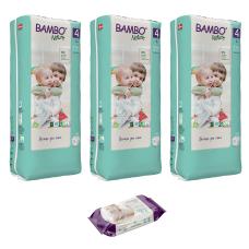 Set 3 pachete Scutece pentru copii BAMBO Nature Maxi, Nr. 4 (7 - 14 kg), 144 buc. + CADOU șervețele umede BAMBO Nature, 80 buc.