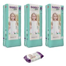 Set 3 pachete Scutece pentru copii BAMBO Nature Junior, Nr. 5 (12 - 18 kg), 132 buc. + CADOU șervețele umede BAMBO Nature, 80 buc.