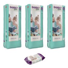 Set 3 pachete Scutece Ecologice Bambo Nature, Nr. 6 (16+ kg), 120 buc. + cadou șervețele umede BAMBO Nature, 80 buc.