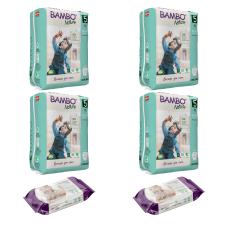 Set 4 pachete Chiloței pentru copii BAMBO Nature Pants Junior, Nr. 5 (12 - 18 kg), 76 buc. + CADOU șervețele umede BAMBO Nature, 2 pachete x 80, 160 buc.