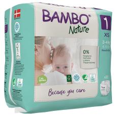 Scutece Ecologice pentru copii BAMBO Nature Mini, Nr. 1 (2-4 kg), pachet 22 buc.