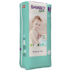Scutece Ecologice Bambo Nature Midi, Nr. 3 (4-8 kg), pachet 52 buc.